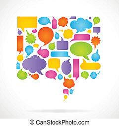 Comic bubble shape composed by various colorful vector speech bubbles.