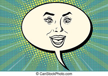 Comic bubble smiley joyful female face