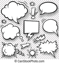 Comic bubbles and elements - A set of comic bubbles and...