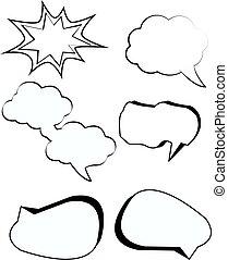Comic bubbles cartoon text boxes set with cloud blank speech box vector illustration
