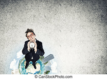 Comic businessman in red glasses