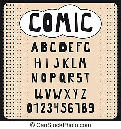 Comic cartoon alphabet set. Letters, numbers for websites, comics, banners. Vector, isolated