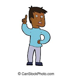 comic cartoon boy with idea