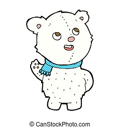 comic cartoon cute polar bear cub - retro comic book style...