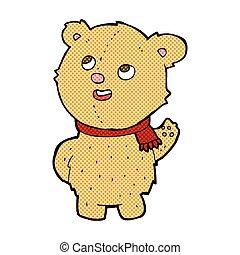 comic cartoon cute teddy bear with scarf