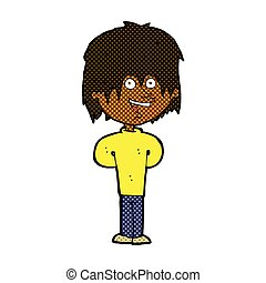comic cartoon happy scruffy boy - retro comic book style...