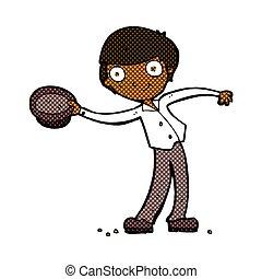 comic cartoon man tipping hat - retro comic book style ...