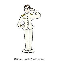 comic cartoon military man in dress uniform