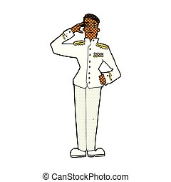 comic cartoon military man in dress uniform