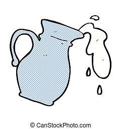 retro comic book style cartoon milk jug