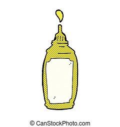 comic cartoon mustard bottle