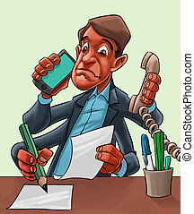 Comic cartoon of a man multitasking - Humorous cartoon of a...