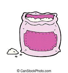 comic cartoon pink bag of flour