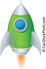 Comic cartoon rocket space ship - Cartoon retro iron ...