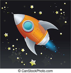 Comic cartoon rocket space ship - Cartoon retro iron...