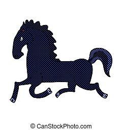 comic cartoon running black stallion