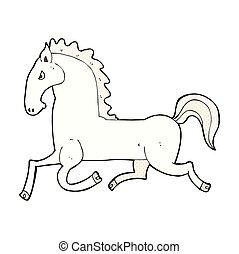 comic cartoon running white stallion