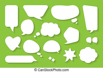 Comic cartoon speech bubble message vector set