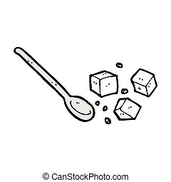 comic cartoon sugar lumps and spoon - retro comic book style...