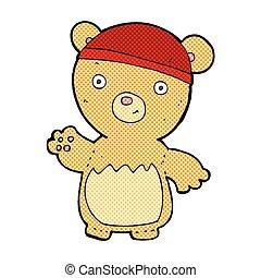 comic cartoon teddy bear wearing hat