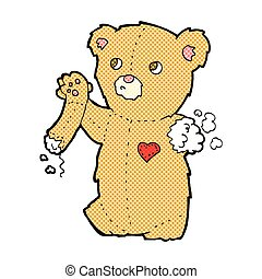 comic cartoon teddy bear with torn arm