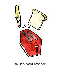 comic cartoon toaster spitting out bread - retro comic book...