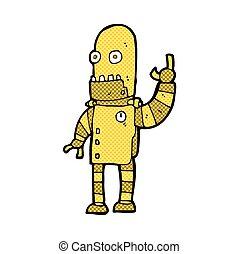 comic cartoon waving gold robot