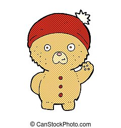 comic cartoon waving teddy bear in winter hat