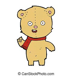 comic cartoon waving teddy bear with scarf