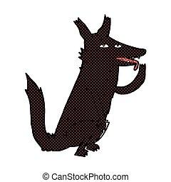 comic cartoon wolf licking paw