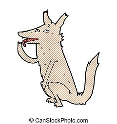 comic cartoon wolf licking paw
