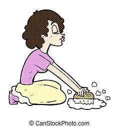 comic cartoon woman scrubbing floor - retro comic book style...