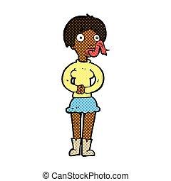 comic cartoon woman with snake tongue