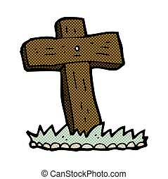 comic cartoon wooden cross grave - retro comic book style ...