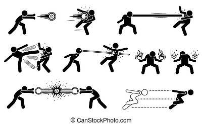 These are super human releases fireball, elastic man with stretchy punch, thousand kicks, laser eyes, creating fire and ice element, and hyper speed moves.