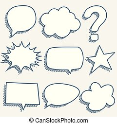 comic chat bubbles and expressions in sketch style