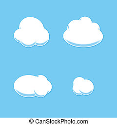 Comic Cloud Set. Cartoon Style. Vector