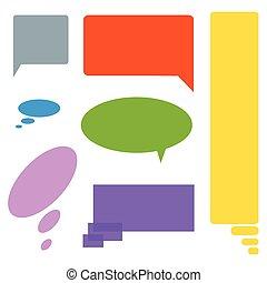 Comic cloud speech bubbles colored set of seven