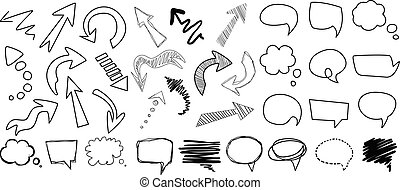Comic collection of arrows and speech bubbles of various shapes. Cartoon dialog clouds with space for messages. Hand drawn vector images