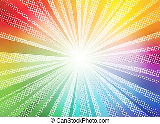 Comic color gradient sun rays background pop art retro vector illustration kitsch drawing.