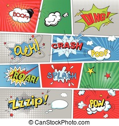 Comic colored speech bubbles in pop art style vs net
