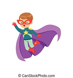 Comic cute flying kid in colorful superhero costume with...