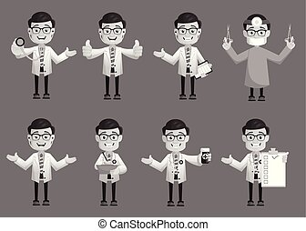 Comic Doctors Expressions and Gestures Collection