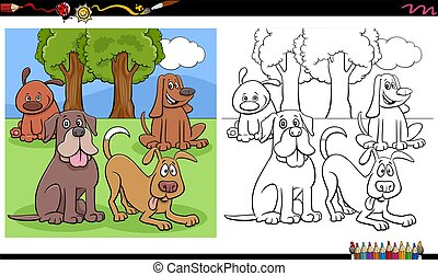 comic dogs and puppies group coloring book page