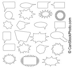 comic elements set - many speech bubbles and comic design...