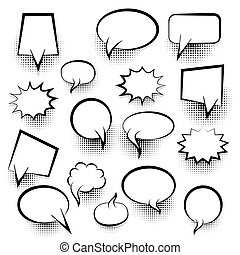Comic empty text speech bubble 25