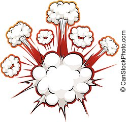 Comic explosion - Close up white clouds explosion