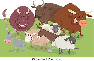 comic farm animal characters group