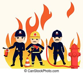 Comic Firefighter Characters Vector