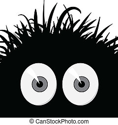 Comic frightened creature - vector illustration - Dark, ...